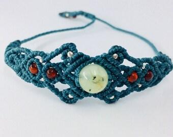 Macrame bracelet, prehnite stone, red jasper, turquoise bracelet, stone bracelet, bohemian chic delicate elegant