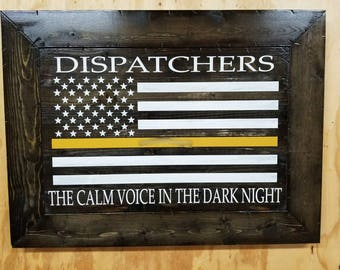 Framed Wooden Rustic Style Thin Gold Line Dispatchers Sign
