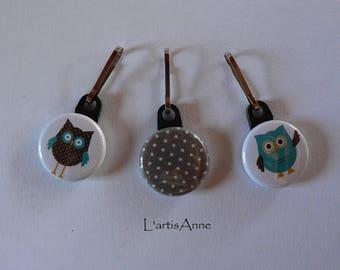 Zip Strap Badge set of 3 OWL and polka dot zipper pull.