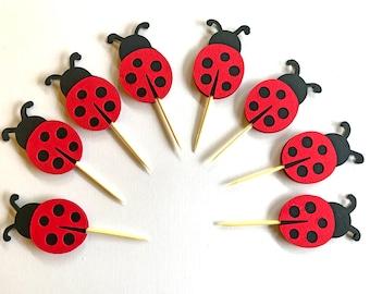 Ladybug Cupcake Toppers, Ladybug Birthday, Ladybug toppers, Ladybug party decorations,  Ladybug baby shower,  Ladybug theme party Set of 20