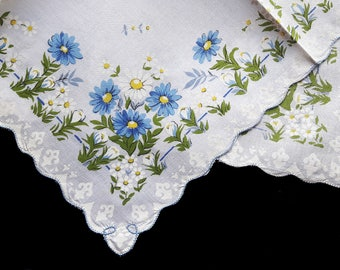 Vintage cotton handkerchief white with blue print flowers