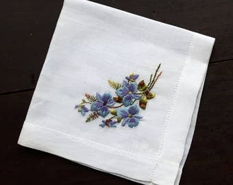 Cotton vintage handkerchief with embroidery flowers