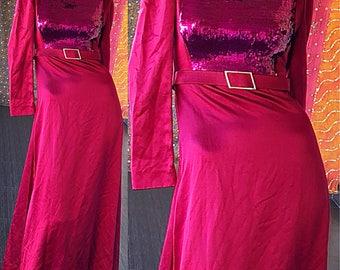 Galanos Dress 60s James Galanos Sequin Evening Gown Bon Marché Room