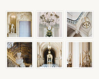 """Versailles, France Travel Photography, """"Lights and Lamps"""", Set of 6 Square Fine Art Prints, Gallery Wall, Home Decor, Gift"""