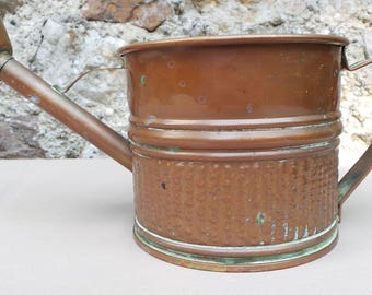 Vintage French Copper Watering Can Sturdy Unrenovated Copper Cuivre Watertight Water Can Plant Waterer