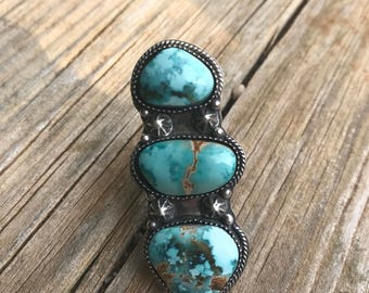 Triple Skycloud Turquoise Statement Ring or Pendant. Sterling Silver.
