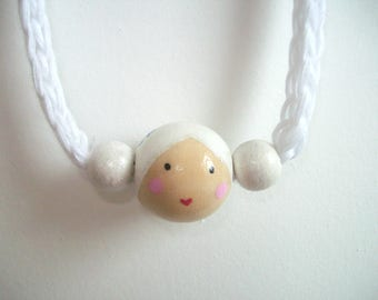 Little Kokeshi necklace - White cord