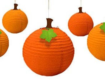 Set Of 5 Fall Pumpkin Paper Lanterns - Autumn Theme Hanging Decorations