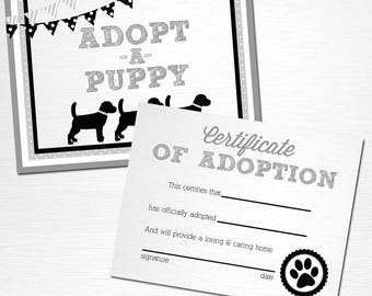 Adopt a Puppy and Certificate of Adoption Gray White Black Lab Dog Birthday Party YOU PRINT