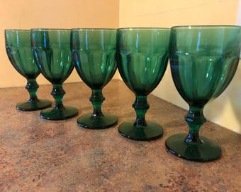 Set of Five (5) Vintage 1960s or 1970s Libbey Duratuff Water Glasses in Emerald Green