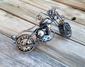Motorcycle, harley, gifts for him, dirtbike gift, upcycled motorcycle, motorcycle gift, biker gift, motorcycle decor, motorcycle art, M13