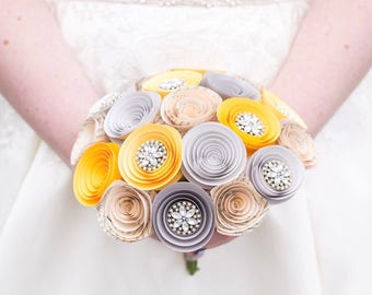 Summer Wedding Bouquet - Bridal Bouquet - Paper Flower Bouquet - Yellow Flowers - Wedding Flowers - Bridesmaids Flowers - Wedding Ideas