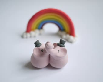 Pink Elephant Gay Wedding Cake Topper (With or Without Rainbow)