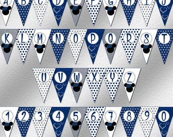 Instant Download, Blue and Silver Mouse Banner, Boy Birthday Party Ideas, Printable Banner