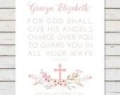 Baby GIRL BAPTISM GIFT, Personalized Baptism Gift, Goddaughter Gift, Christening Gift, Baptism Gift Girl, Baptism Bible Verse, Psalm 91:11