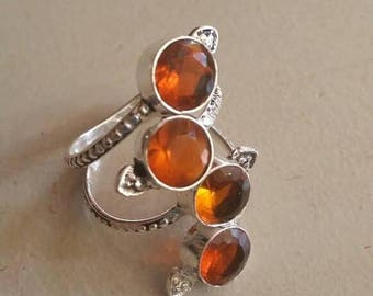 Holiday SALE 85 % OFF Citrine  Size Adjustable Ring Gemstone. 925 Sterling  Silver