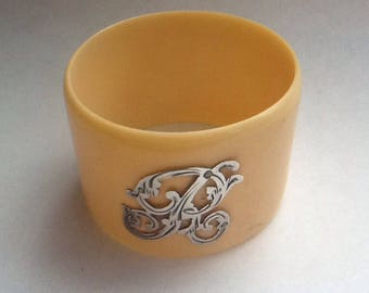 Vintage Antique Celluloid & Sterling Silver Initial 'R' Napkin Ring