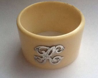 Vintage Antique Celluloid & Sterling Silver Initial 'K' Napkin Ring