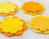 Felt Flower Layers, 16 pieces, Die Cut Felt Shapes, Felt Applique, You Choose Colors