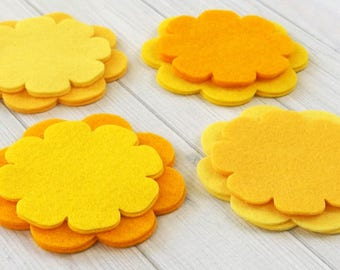Felt Flower Layers, 16 pieces, Die Cut Felt Shapes, Felt Applique, You Choose Colors