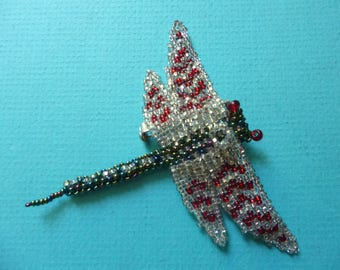 3 Dragonfly Brooch Vintage Bug Jewelry Beaded Folk Art Pin Made in Guatemala 80's