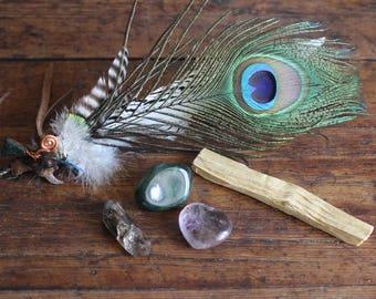 Healing Kit-Smudge Fan, Palo Santo and Stones:Jade, Smokey Quartz (with chlorite,rutile) and Amethyst Heart (with hematite, goetite, quartz)