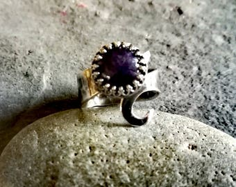 Sterling silver gemstone ring, Amethyst ring