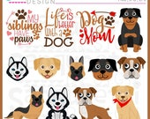 Large Breed Dog Clipart, Dog clipart, Boxer, German Shepherd, Husky, Labrador Retriever, Rottweiler, EPS, JPG, PNG