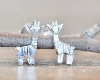 Sterling Silver Origami Giraffe Earrings, Silver Giraffe Earrings, Origami Animal Jewelry, Origami Jewelry, Jamber Jewels 925