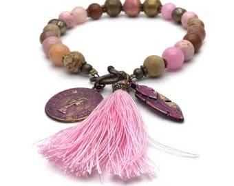 Pink bead bracelet, tassel bracelet, layering bracelet, bohemian jewelry, valentines gift pink, boho bracelet,