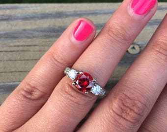 Red Garnet CZ and White Cz Engagement Ring Silver Plated Promise Ring