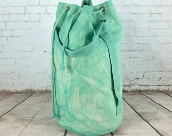 SALE Rucksack, duffle bag, sailor bag, Luggage sack, hand dyed pale  green cotton canvas bag