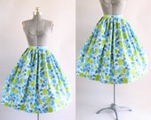 Vintage 1950s Skirt / 50s Cotton Skirt / Deadstock Millworth Fabric Blue and Green Floral Print Skirt M