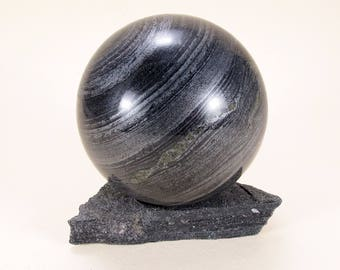 SPECULAR HEMATITE Magnetic sphere 59 mm with stand ball #91P - UKRAINE