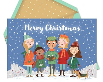 CHRISTMAS Carol Singers greetings card