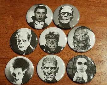 Classic Movie Monsters from the 1930s & 40s! Buttons or magnets 2.25in