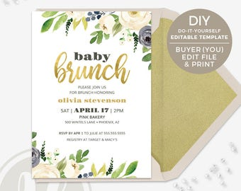 Baby Brunch Invitation - Floral, Baby Shower Invitation, Instant Download, Faux Gold Foil, PDF Template, Printable Invitation