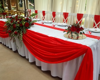100ft Decorative Wedding Tablecloth, Bright Red Lace Table Runner, Wedding  Table Runner, Middle