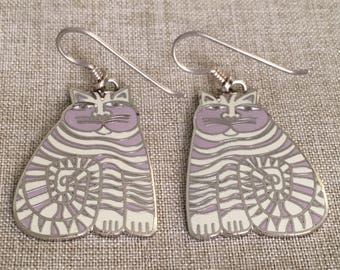 "Laurel Burch ""SilverTone"" Vintage Signed ""Shambala"" Silver and White Dangle Earrings"