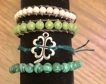 Double wrap and Clover bracelet