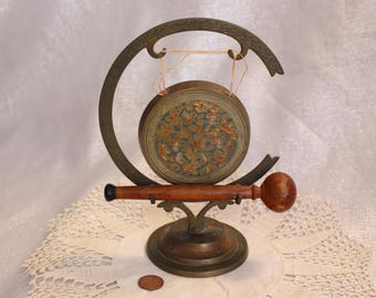 Vintage Brass Tooled Enamel Brass Gong with Wood Knocker / Ringer Floral India
