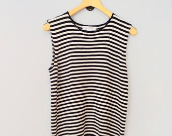 1990s Tank Top Sweater Black and White Stripe