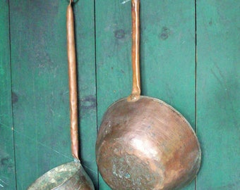 Antique Ladles / Handmade Copper / Primative Tools / Authentic Patina
