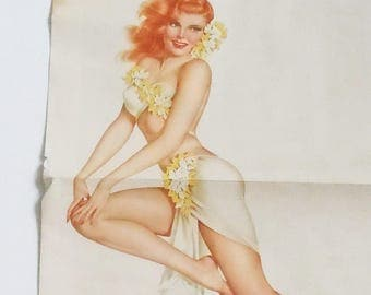 Varga Girl Pin-up from Esquire Magazine / Authentic....not a print / 2-Sided Pin-up Poster with Early Auto Poster