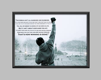 Rocky Balboa Quote Poster Wall Art Picture Print A4 - A3 - A2 - A1 - A0