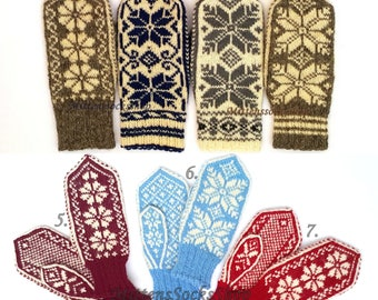 Nordic Mittens Hand Knitted Wool Mittens Norwegian Mittens Scandinavian Gloves Warm Winter Gloves Patterned Mittens Knit Natural Wool Gloves