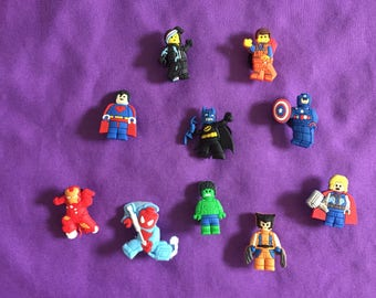 10-pc Lego Movie Shoe Charms for Crocs, Silicone Bracelet Charms, Party Favors, Jibbitz