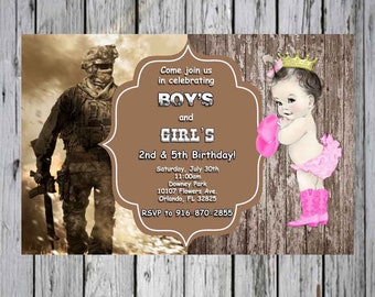 Call of Duty and Cowgirl Princess Birthday Custom Invitation Dual Birthday Party Invitation Theme