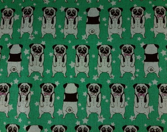 Pug with bowtie. Cosmo textile fabric.Green.Pink. Japanese fabric. Japanese cotton and linen fabric. Fabric by half yard or half meter