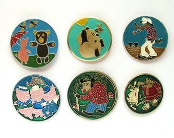 Soviet Children's badges, Pick your pin, Three little pigs, Wolf, Nu pogodi, Bear, Vintage collectible badge, Soviet Union, USSR, 1980s